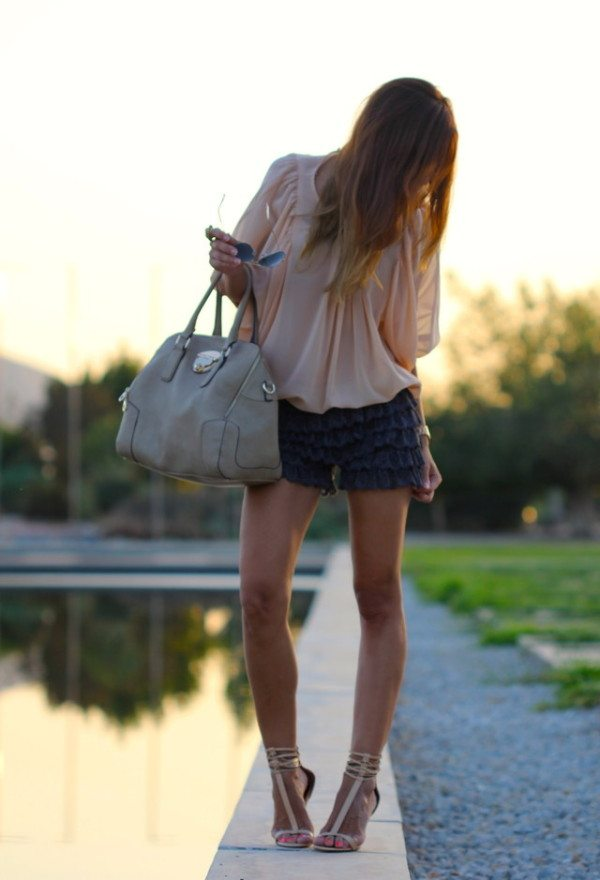 cute lace short outfit with blouse bmodish