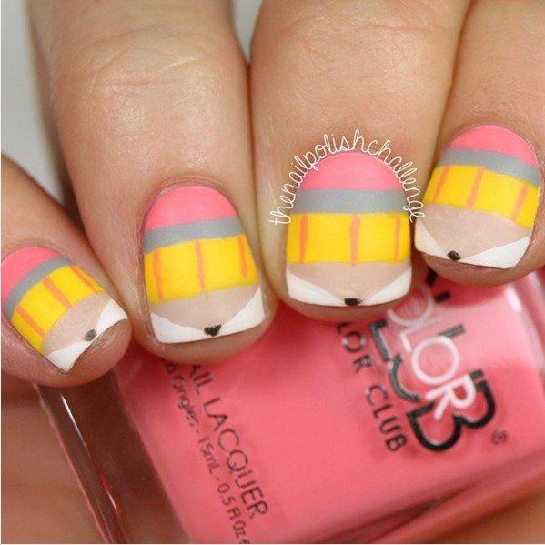 cute pencil design school nails bmodish