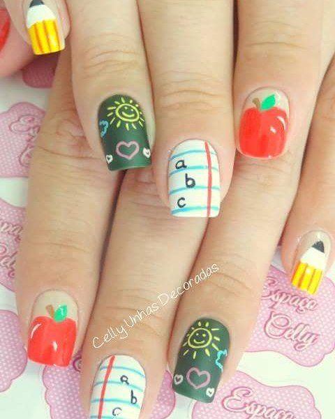 cute summer back to school nail design bmodish