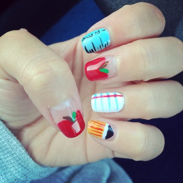 cute teacher nail art bmodish