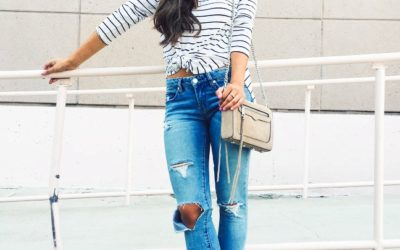 knotted t shirt with ripped jeans casual summer outfit bmodish