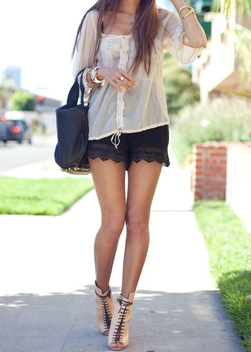 lace shorts summer outfit bmodish