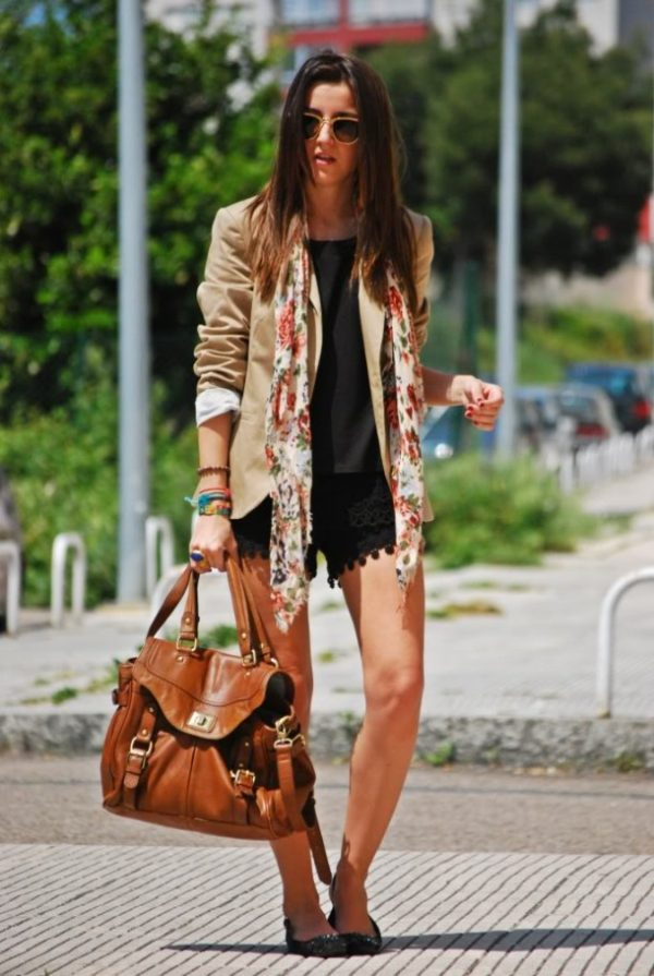 lace shorts with blazer cute outfit bmodish
