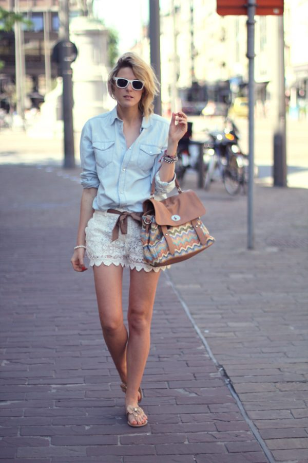 lace shorts with chambray shirt summer outfit bmodish