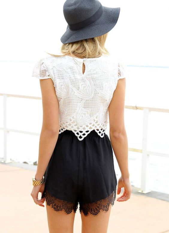 lace shorts with lace top bmodish