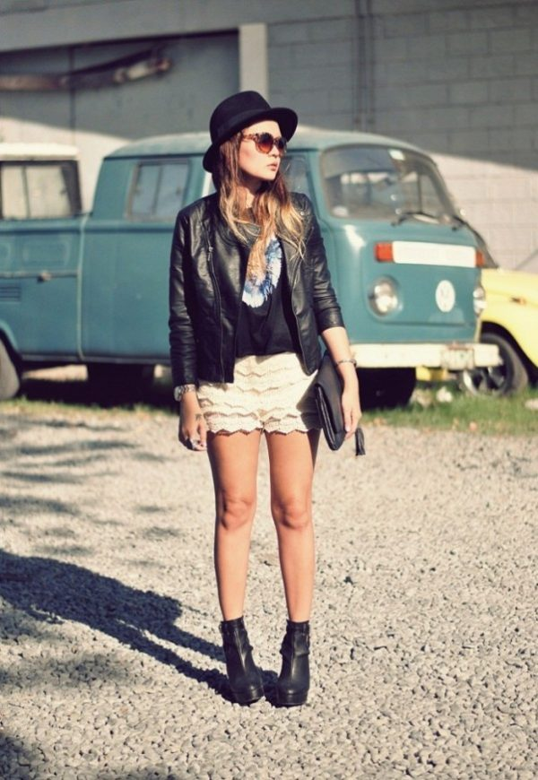lace shorts with leather jacket outfit bmodish