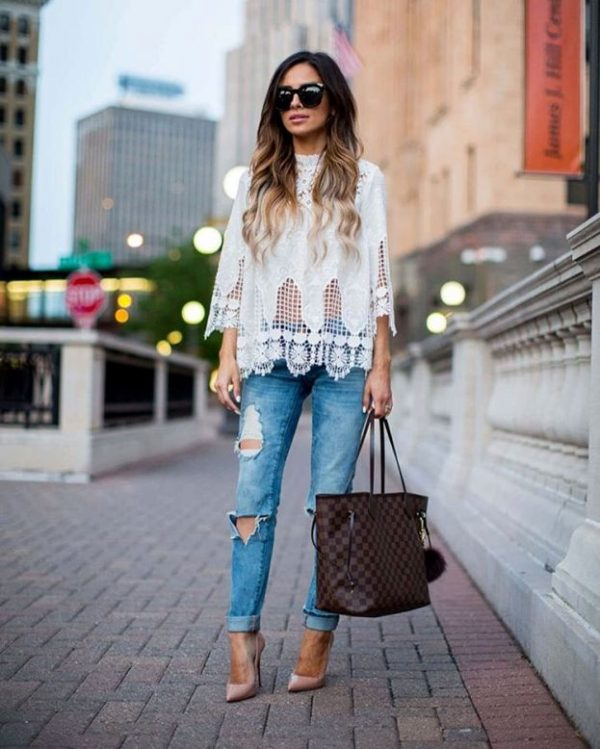 lace top with ripped jeans summer outfit bmodish