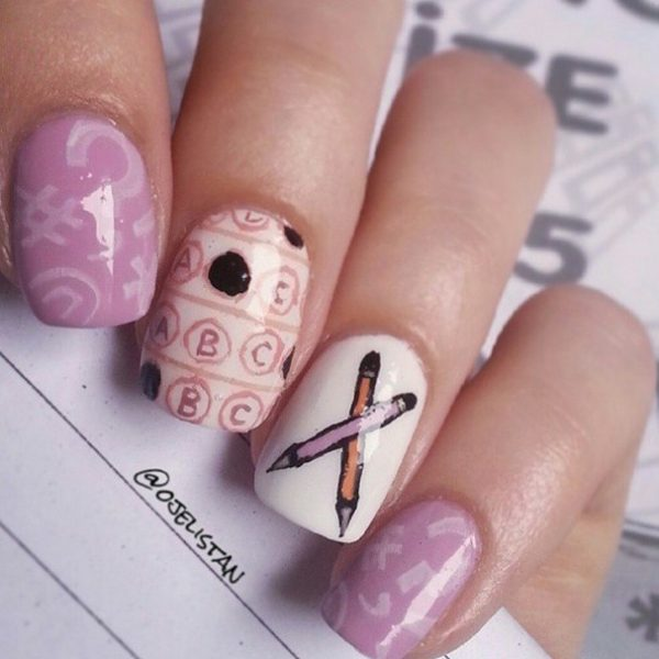 lavender cute back to school nail decal design bmodish