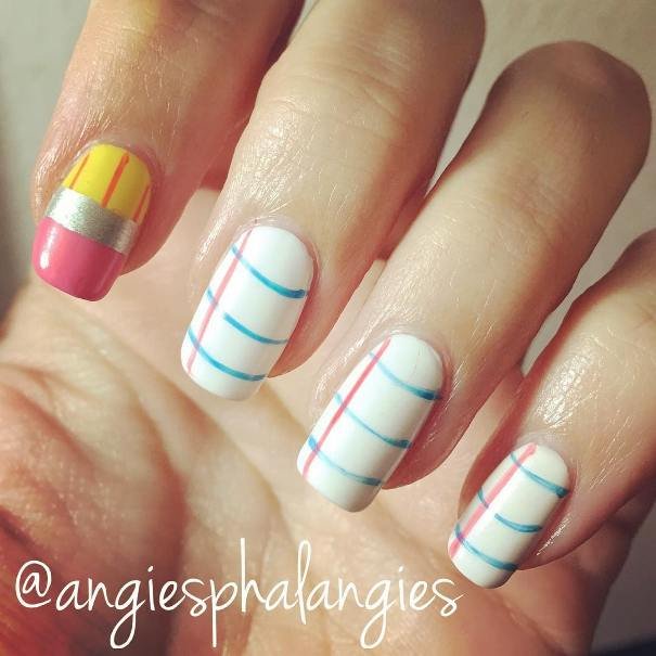 notebook and pencil back to school nail design bmodish