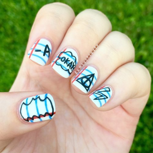 notebook doodles nail art bmodish