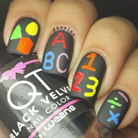 number and alphabet chalkboard back to school nail art bmodish