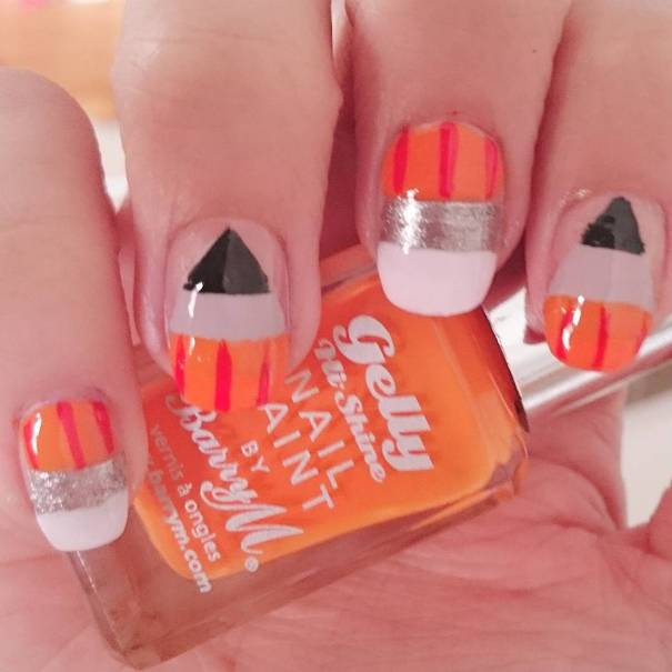 orange pencils back to school nail design bmodish