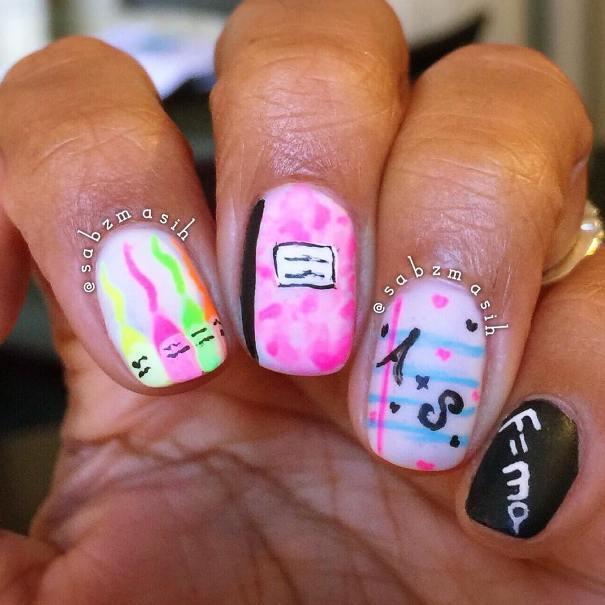 pink notebook backtoschool nails bmodish
