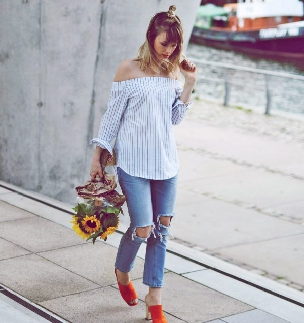 ripped skinny jeans with off shoulder top bmodish