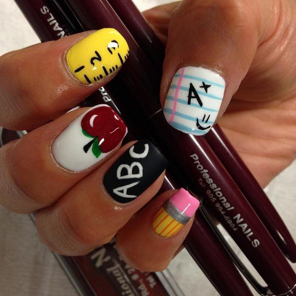 school start nail art bmodish