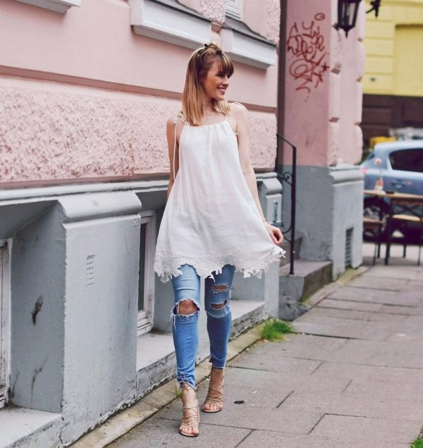 summer dress with ripped jeans outfit bmodish