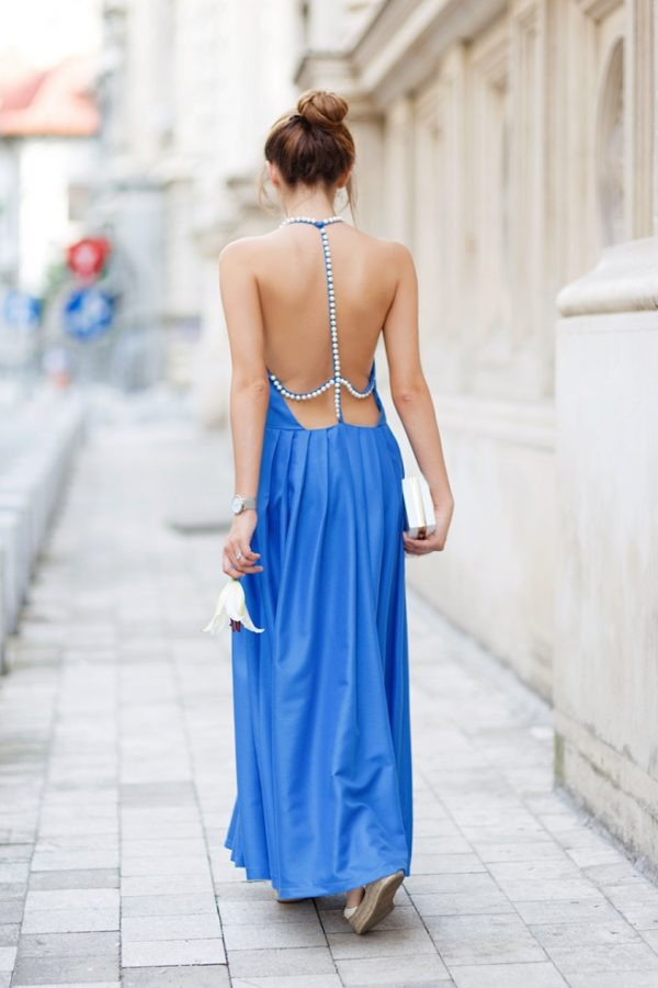 backless blue pearl summer maxi dress outfit bmodish