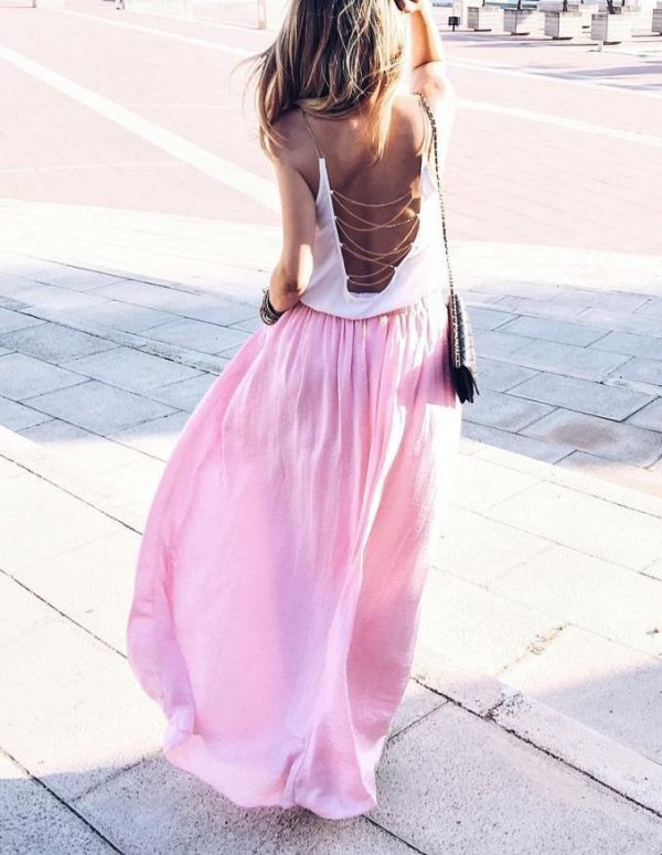 backless top with maxi skirt outfit bmodish