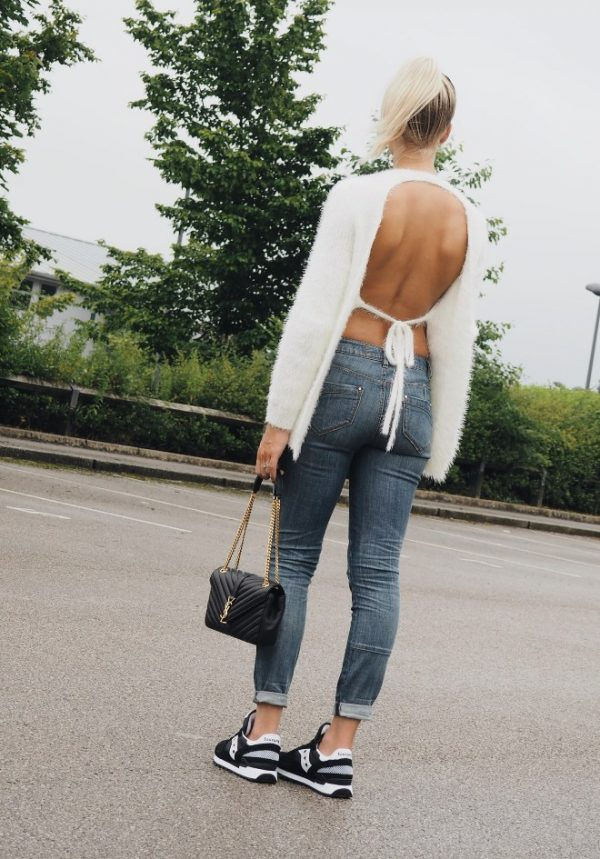 backless white sweater casual outfit bmodish