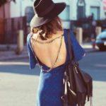 blue black open back dress bmodish