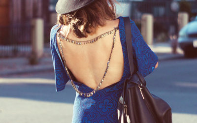 blue black open back dress bmodish