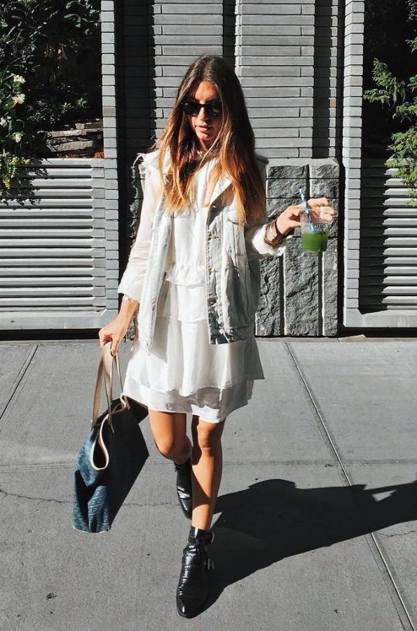 boho-dress-with-denim-vest-outfit-bmodish