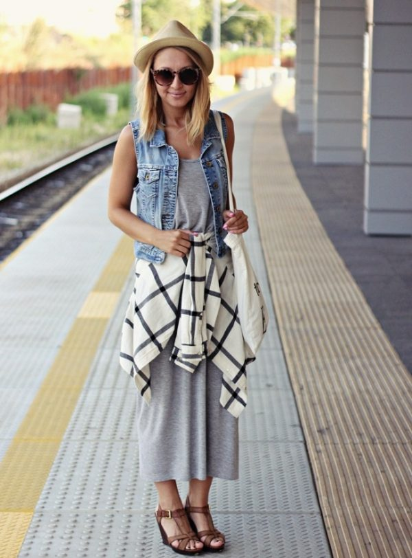 casual-maxi-dress-with-denim-vest-outfit-bmodish