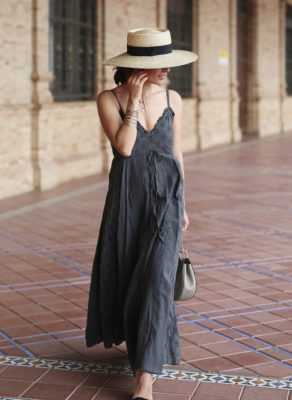 cute-maxi-dress-summer-outfit-with-straw-hat-bmodish