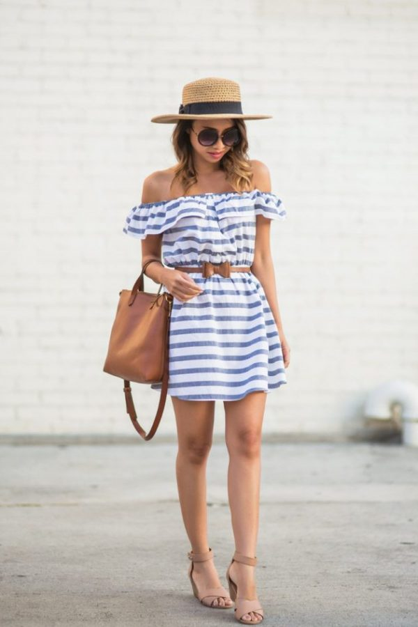 cute-striped-summer-dress-with-straw-hat-outfit-bmodish