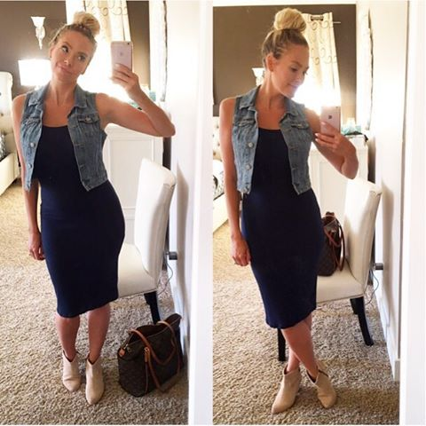 denim vest with bodycon dress outfit bmodish