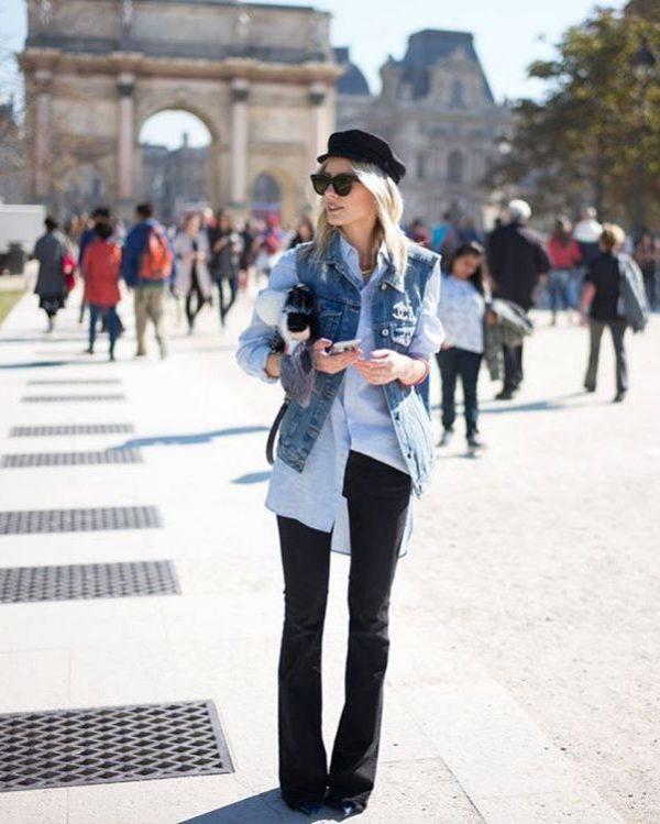 denim-vest-with-flare-jeans-and-chambray-shirt-outfit-bmodish