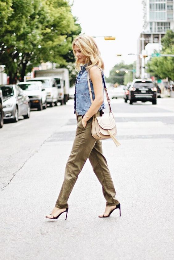 khaki jumpsuit with denim vest outfit bmodish