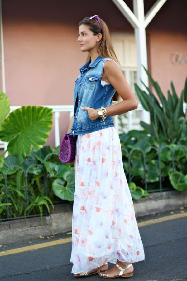 denim vest with maxi dress outfit bmodish