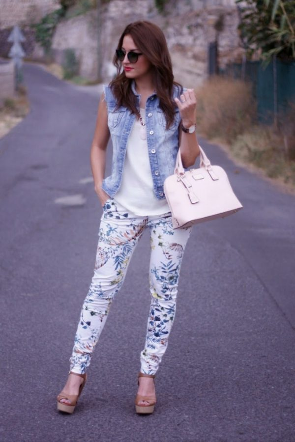 printed-pants-with-blouse-and-denim-vest-outfit-bmodish