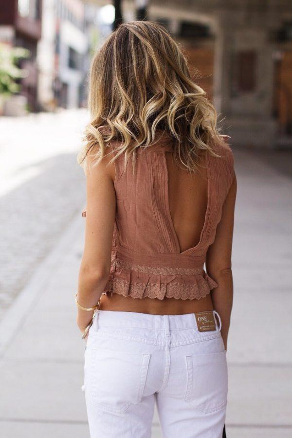 ruffle open back tank summer outfit bmodish