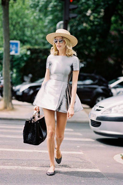 silver dress straw hat street style bmodish