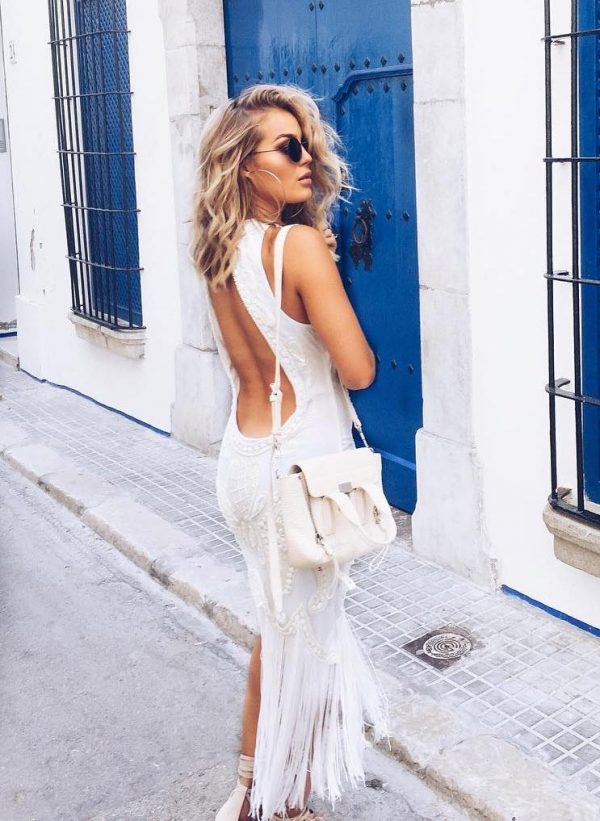 white open back boho dress summer outfit bmodish