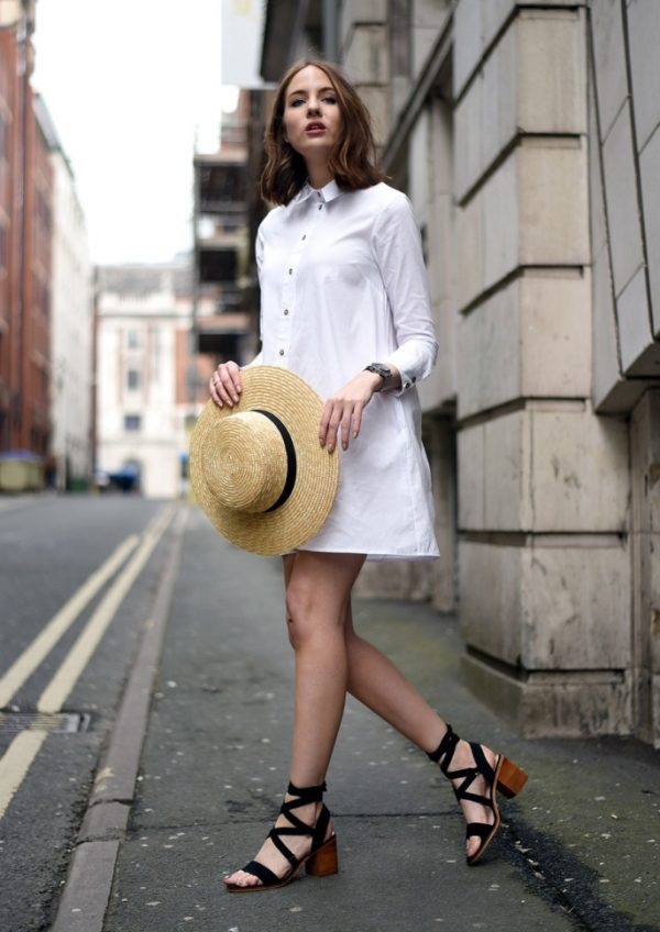white-shirt-dress-with-summer-sandals-and-straw-hat-festival-outfit-bmodish