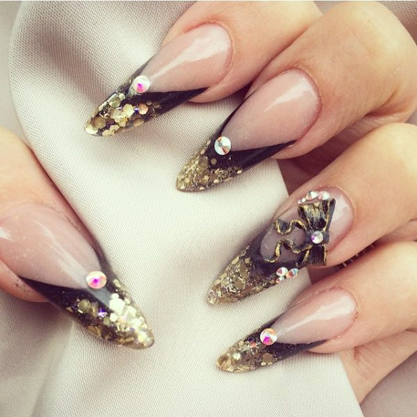3d black and gold stilleto nails bmodish