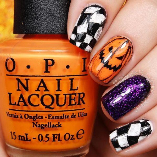 Grungey Jack O' Lanterns and glitter nail art for halloween bmodish