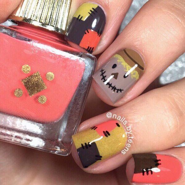 Scarecrow halloween nails bmodish