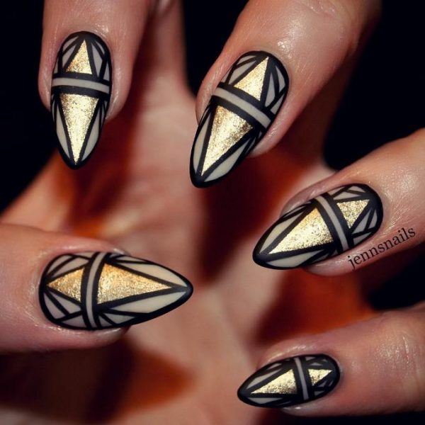 gold and white design nails