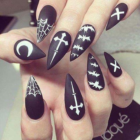 bats pointy halloween nails bmodish