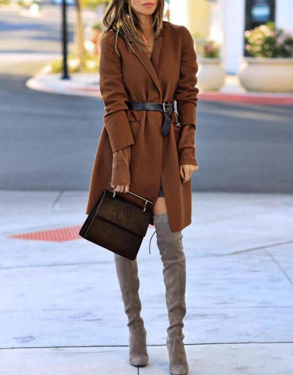 belted coat blazer with knee high boot outfit bmodish