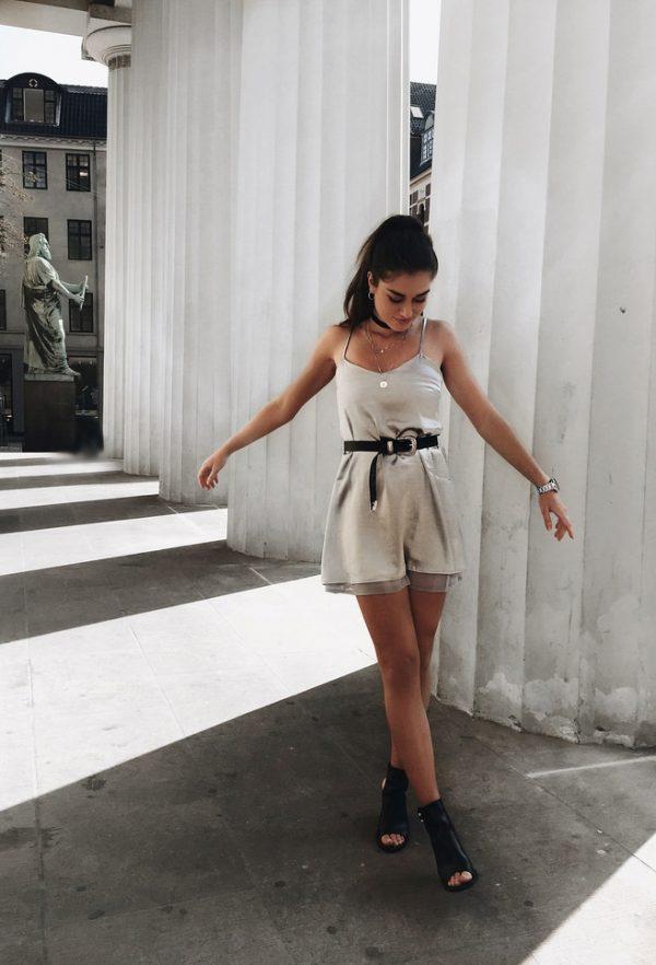 belted silver slip dress style bmodish