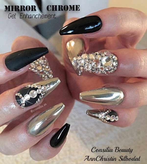 black and chrome mirror embellished nails bmodish