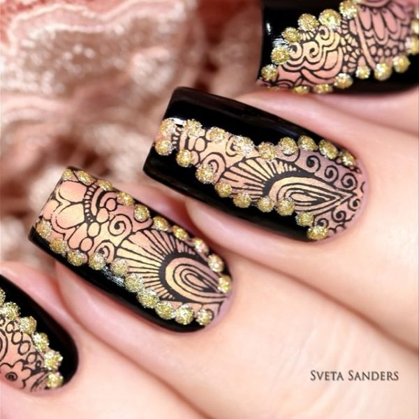 black and gold nail design bmodish