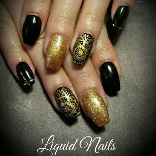 black and gold stamping nails bmodish