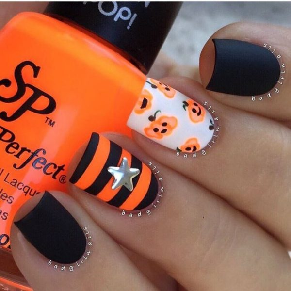 black and orange halloween nails bmodish