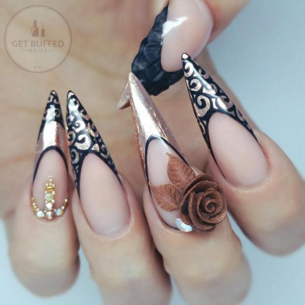 black and rose gold nail art bmodish
